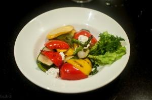 Grilled matirennian salad with balsamic glaze