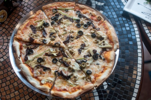 An interesting combination of olives , Artichoke, asparagus and sundried tomato