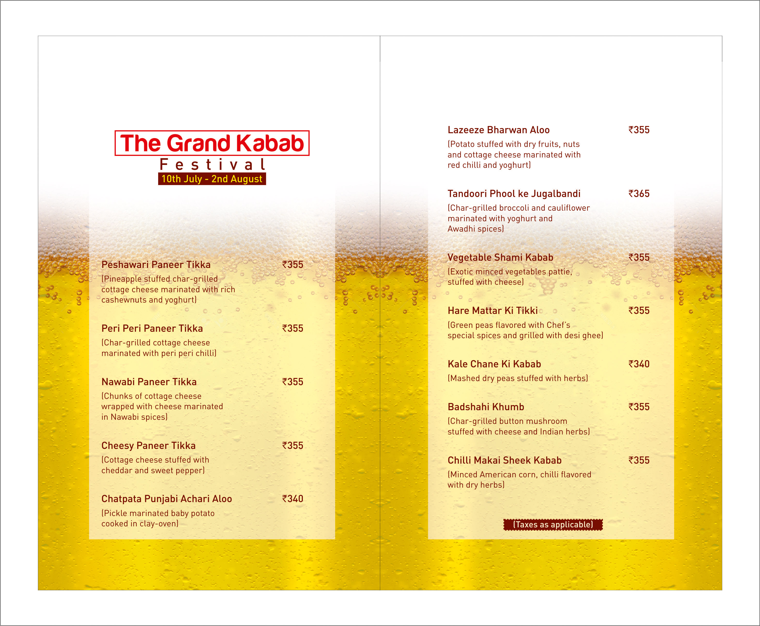 Casa - Kebab and Beer Festival - MENU - INSIDE
