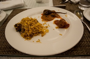 mutton kheechra, baghara baigan and mutton balls in herb-spiced tomato gravy