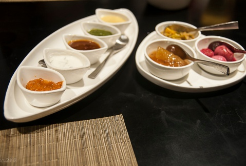 Condiments- burnt garlic chutney, tamarind chutney, dahi chutney, Dhania Chitney, Mustard chutney